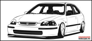 Honda Civic gen 6 3D 100cm czarny mat