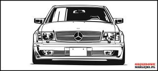 Mercedes W126 SEC na sciane czarny mat