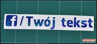 Facebook Twój Tekst 20cm niebieski brokat