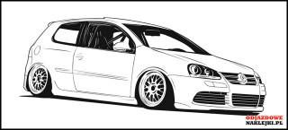 VW Golf Mk5 3D 100cm czarny mat