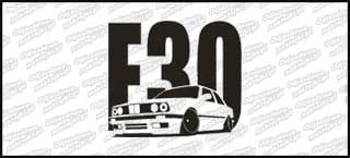 BMW E30 15cm Biała naprasowanka