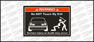 Do not touch my BMW E34 biało czerwona 15cm