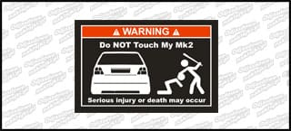 Do not touch my VW Golf Mk2 biało czerwona 15cm