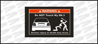 Do not touch my VW Golf Mk3 biało czerwona 15cm