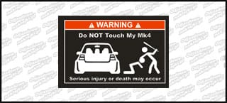 Do not touch my VW Golf Mk4 biało czerwona 15cm