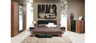 VW Golf Mk3 5d 100cm na ścianę czarny mat