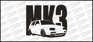VW Golf MK3 5D 15cm Czarna naprasowanka