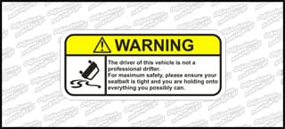 Warning Not a professional driver 12cm kolor
