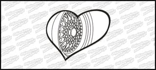 BBS Heart Czarno biała 10cm kolor