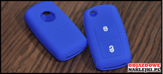 Etui 2B na kluczyk VW SEAT Skoda Niebieski Ciemny Nadruk