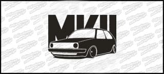 VW Golf MK2 15cm Biała naprasowanka
