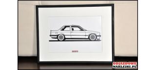 Grafika BMW E30 Bok format a4