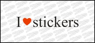 I love Stickers 20 cm czarna