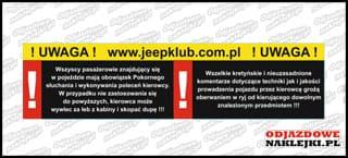 Uwaga JeepKlub.pl 20cm kolor