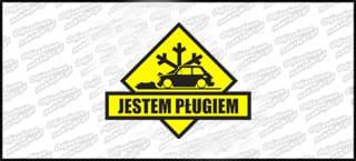 Jestem Pługiem Fiat 126p 15cm czarno żółta