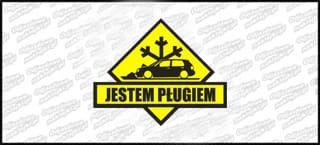 Jestem Pługiem VW Golf Mk3 15cm czarno żółta