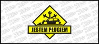 Jestem Pługiem VW Golf Mk3 3D 15cm czarno żółta
