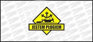 Jestem Pługiem Fiat Seicento 15cm czarno żółta