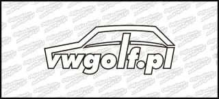 VWGolf.pl Mk1 Logo 15cm Biało Czarna