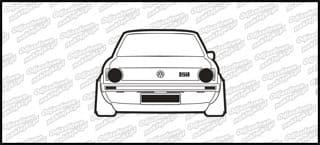VW Golf Mk1 GTI Front 12cm czarno biały