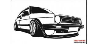Vw Golf Mk2 na ścianę 100cm czarny mat B