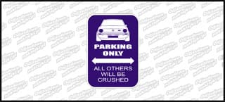 VW Parking Only VW Golf Mk1 12cm kolor