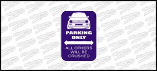 VW Parking Only VW Golf Mk2 12cm kolor